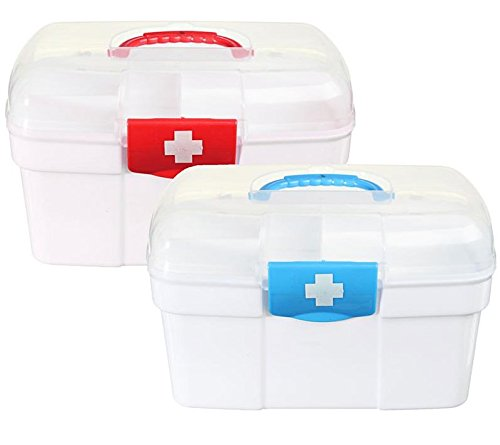 Empty First Aid Kit Family Medicine Chest Storage Box Household Plastic Drug Holder Case Medicine (Empty First Aid Cabinets)