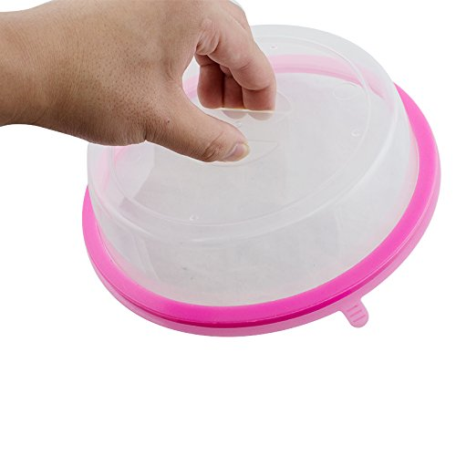 Denshine Microwave Plate Cover Universal Microwave Cover for Food Dishwasher Safe, Easy to Clean Plate Cover for Plates, Bowls (Pink)