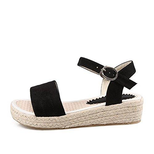 Odomolor Mujeres Puntera Abierta Mini Tacón Esmerilado Sólido Sandalias de vestir Negro