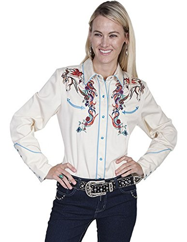 scully-womens-colorful-horse-embroidered-long-sleeve-shirt-cream-medium