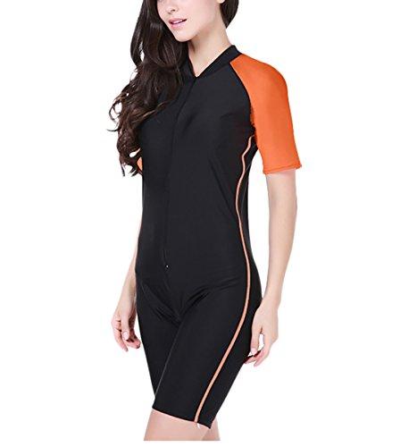 Summer Short Sleeve Swimwear One Piece Swimsuit For Women (Orange) - 5