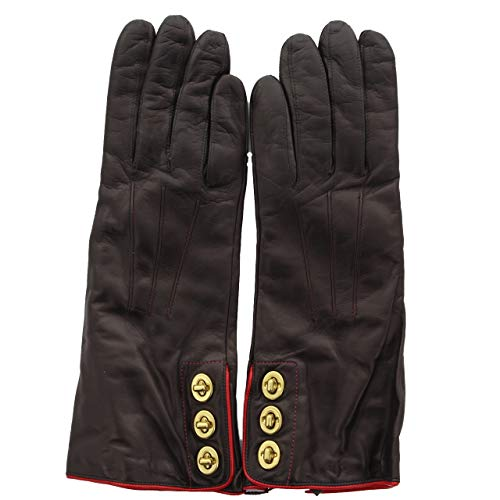- Coach 82825 Women's 3 Turnlock Leather Lined Gloves Teak Dark Brown 7