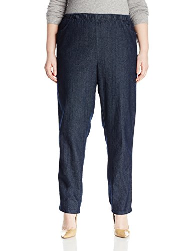 (Chic Classic Collection Women's Size Plus Cotton Pull-On Pant with Elastic Waist, Dark Shade Denim, 18W)