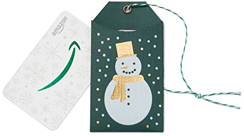Amazon.com Gift Card in a Green Snowman Tag]()