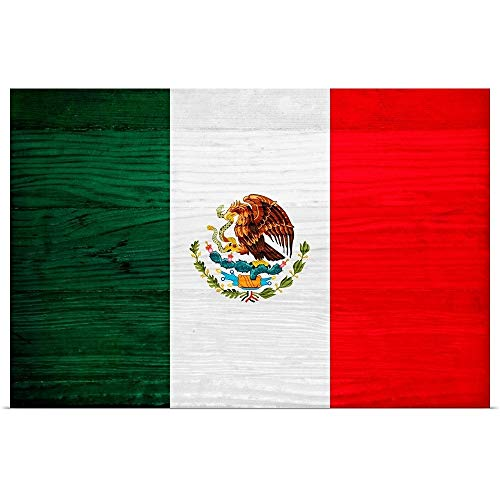 Great Big Canvas Poster Print Entitled Wood Mexico Flag, Flags of The World Series by Philippe Hugonnard 48