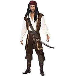 Smiffys High Seas Pirate Costume, Brown/White/Black, Large