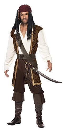 Smiffys High Seas Pirate Costume, Brown/White/Black, Large ()