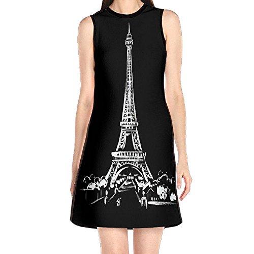 JCCHEN Women's Eiffel Tower Art Casual Summer Fashion Sleeveless Dresses