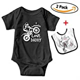 Robprint I Wheelie Love Daddy Baby Boys' Girls' Essentials Short-Sleeve Onesies Rompers