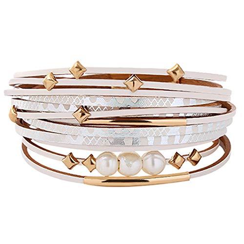 TASBERN Leather Wrap Around Bracelet Multi Strands Cuff Bracelets Spike Studed Pearls Boho Bracelets Gold-Plated Metal Tube Bohemian Jewelry Gifts for Women, Teens Girl, Daughter, Sister ()