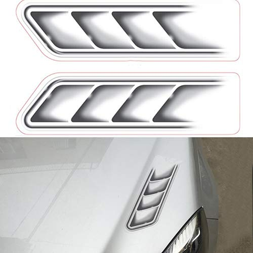 Baost 2Pcs/Set Creative 3D Car Stickers Side Fake Vents Front Cover Decorative Decals Car Side Fender Rear Trunk Emblem Badge Decals Creative Auto Car Emblem Decal Random