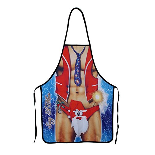 DODOING Funny Aprons - Men&Women Aprons Cooking Kitchen BBQ Aprons, Adult Sexy Apron Best Halloween Cosplay Party Costume Christmas Gift(Strong Father Christmas) ()