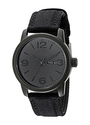 Eco Drive Black Dial Watch (Citizen Men's BM8475-00F  Black Canvas Strap Eco-Drive Watch)