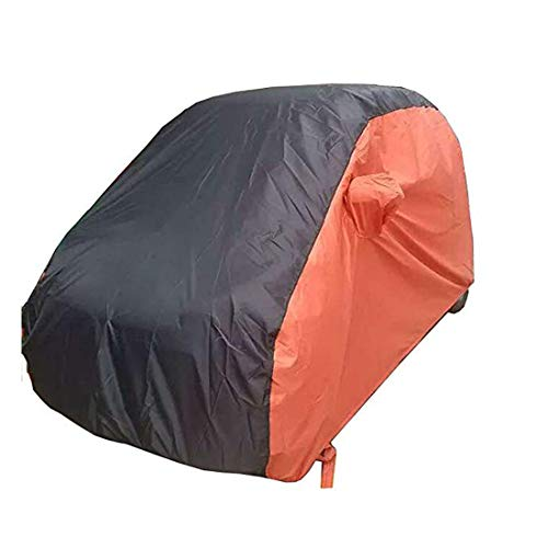 KMT Black+Orange Car Cover Covers Outdoor Indoor for Smart Fortwo Fourfor Waterproof Anti-UV Rays Dirt Dust (2015-2018 2-Doors Smart) -