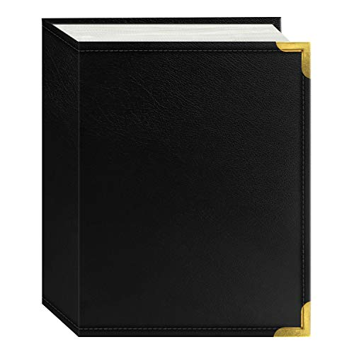 Pioneer Photo Albums 100-Pocket Black Sewn Leatherette Cover with Brass Corner Accents Photo Album, 4 by 6-Inch ()