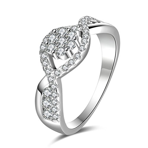 TEMEGO Halo Infinity Rings for Women,White Gold Criss Cross Clear CZ Micro Pave Wedding Ring, Size 7 -