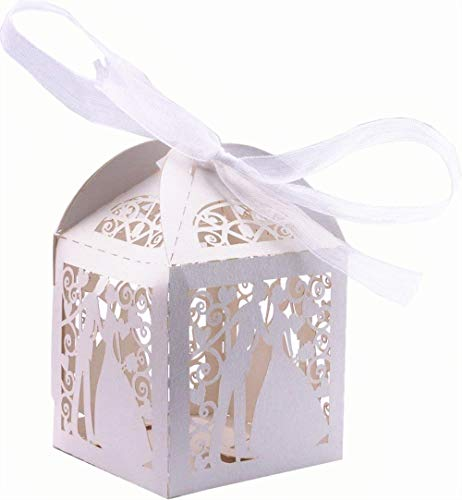 DriewWedding 50PCS Couple Design Wedding Bridal Favor Gift Candy Boxes Case, Hollow Wrap Boxs Bag with Ribbon Party Table Decor Kit Treat Box Chocolate Candy Wrappers Holders (White)