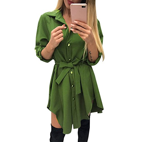 Mose Clearance Women Long Sleeve Lapel Tie Dress Single-Breasted Irregular Casual Shirt O Neck Solid Evening Party Dress (Army Gree, L) (Single Lapel Sleeve)