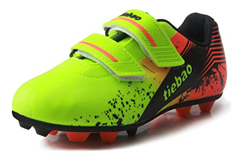 T&B Turf Soccer Shoes Kids Football Trainers Turf Firm Ground Green/Orange No.76660A-Lv-30-12.5US (Soccer Shoes Trainers)