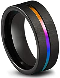 Black Tungsten Carbide Wedding Band 8mm Colorful Rainbow Couple Ring Size 6-14