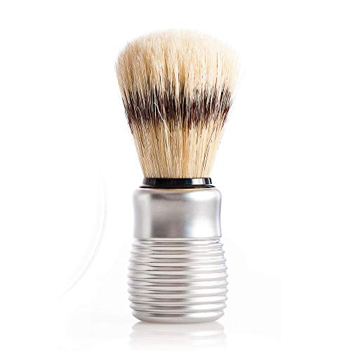 Pre de Provence Men's Boar Bristle Shave Brush with Aluminum Handle for Quick Lather