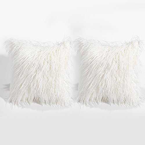 BLEUM CADE Set of 2 Faux Fur Throw Pillow Cover Super Soft P