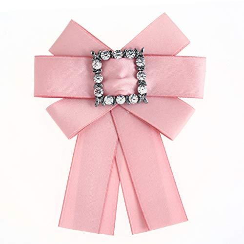Habily Fashion Women Pink Pre-Tied Neck Tie Rhinestone Crystal Brooches Pin Clip Ribbon Wedding Party ()