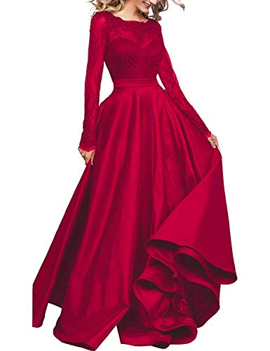 fff96abeb0a Women s Long Sleeve Prom Evening Dresses Maxi Pockets Bridesmaid Formal  Gowns