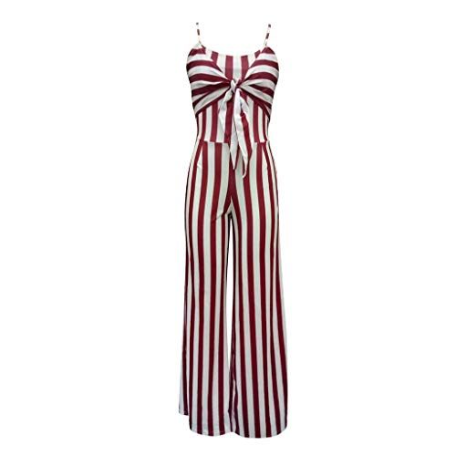 (IAMCOOL Summer Jumpsuits for Women, Women Sexy Striped Printed Romper Sleeveless Bandage Casual Loose Jumpsuits Red)