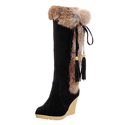LandFox Leisure Tassel Increase ShoesWomen's Round-Toe Keep Warm Long Tube Snow Boots,US:7 Black
