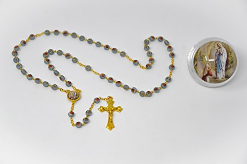 Lourdes Rosary Beads with a Apparition Rosary Box & Lourdes Prayer ()