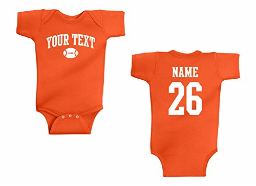 Infant Onesie Custom Personalized One Piece, Football Arched text, Back Name & ()