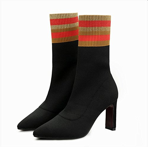 Tide Thin Knitting Boots Heeled Shoes And Color New Socks HGTYU Stretch With Winter Autumn 37 High Spell Girl Bold Stripes And Boots And Black Boots Fabric wxAARfqWzS