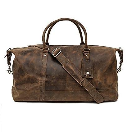 0ebd567474 Porterbello -  Turin  Large Handmade Hunter Leather Holdall Duffle Travel  Weekend Gym Cabin Bag  Amazon.co.uk  Luggage