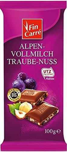 Fin Carre Alpine full milk chocolate grape nut (10 x 100g) - German product - Grape Milk