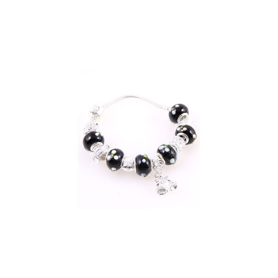 Fashion Jewelry Desinger Murano Glass Bead Bracelet with Pattern Black