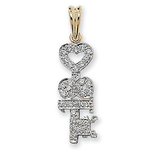 Pour Enfant Or 9ct–Oxyde de zirconium–Lot de 18clé Pendentif sur un collier de Prince Pays De Galles