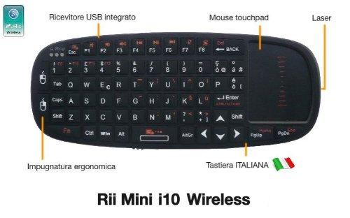 165 opinioni per Rii Mini i10 Wireless (layout ITALIANO)- Mini tastiera wireless con mouse