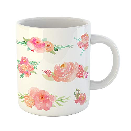 Floral Collection Pink Mug - Emvency Coffee Tea Mug Gift 11 Ounces Funny Ceramic Pink Peony Collection of Watercolor Flower Bouquets Floral Gifts For Family Friends Coworkers Boss Mug