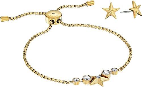 Michael Kors Women's Starburst Slider Bracelet w/Matching Earrings Set Gold One Size (Adjustable Ring Starburst)