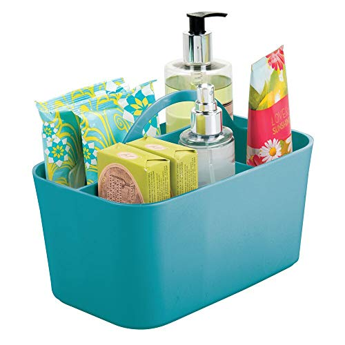 mDesign Plastic Portable Storage Organizer Caddy Tote - Divided Basket Bin with Handle for Bathroom, Dorm Room - Holds Hand Soap, Body Wash, Shampoo, Conditioner, Lotion - Small - Teal Blue