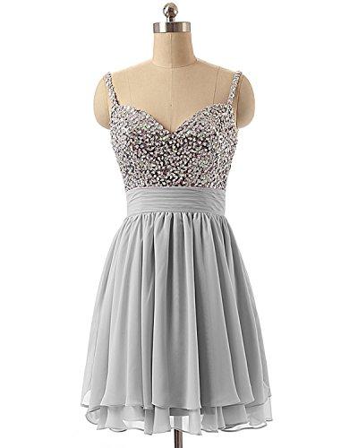 Cocktailkleider Ballkleid Silber LuckyShe Damen Kurz Elegant Abendkleider Festkleider Pailletten qwS0x71