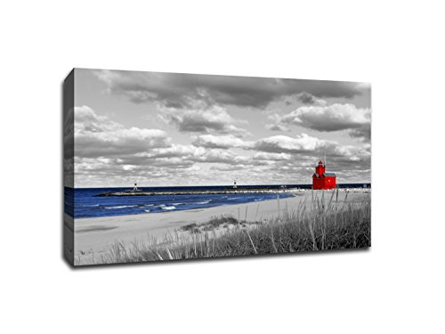 - Red Lighthouse on Lake Michigan - Touch of Color - 36x24 Gallery Wrapped Canvas Wall Art ToC