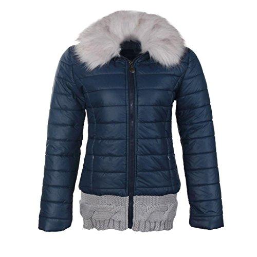 ... OVERDOSE Damen Dünne Winter Kurzen Pelz Gefüttert Kapuzenkragen  Baumwolle Mantel Jacke Dunkelblau SiszCeTv9Y