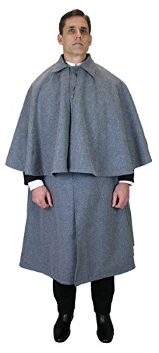 Historical Emporium Men's 100% Wool Inverness Dress Cape Gray/Black