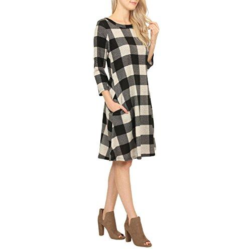 Casual Printed Dress Black Style Bohemian boutique Sunm Ethnic Vintage 017 Loose Tunic Women's ZHIwgq8