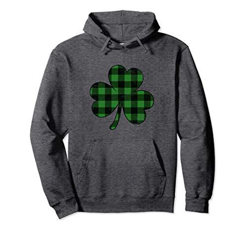 Shamrock Sweatshirt - St Patricks Day Hoodie Buffalo Plaid Shamrock Clover