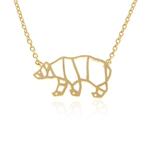 LAONATO Plated Brass Origami Bear Necklace, 17