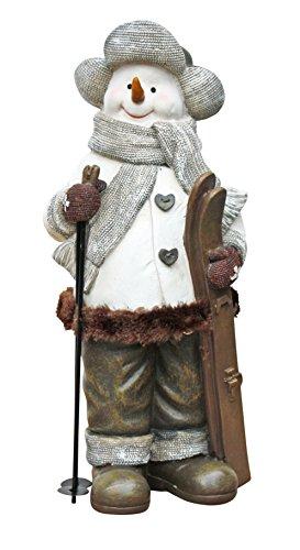 Schneemann mit Skiern, Dekofigur, Weihnachtsfigur, Weihnachtsdeko 30 cm