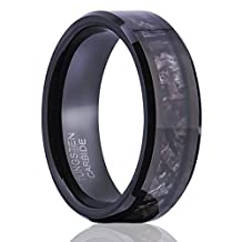 Tusen Jewelry 8MM Camouflage Hunting Mens Black Tungsten Ring Camo Polished Wedding Band